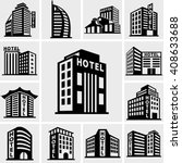 hotel vector icons set on gray.  | Shutterstock .eps vector #408633688