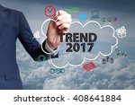 businessman hand draw cloud  ... | Shutterstock . vector #408641884