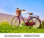 city bicycle with flower basket ... | Shutterstock . vector #408642940