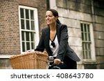 a businesswoman riding a... | Shutterstock . vector #408643780