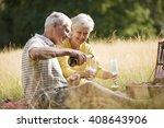 a senior couple having a picnic ... | Shutterstock . vector #408643906
