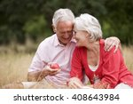 a senior couple sitting on the... | Shutterstock . vector #408643984