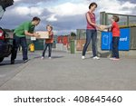 a family recycling cardboard... | Shutterstock . vector #408645460