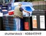 a senior man recycling an empty ... | Shutterstock . vector #408645949