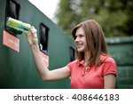 a teenage girl recycling a... | Shutterstock . vector #408646183
