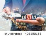 double exposure of businessman... | Shutterstock . vector #408650158