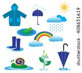 rainy weather icons with clouds and umbrella, vector illustration isolated on white