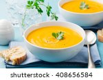 pumpkin and carrot soup with... | Shutterstock . vector #408656584