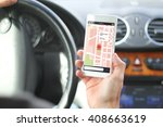 driver holding smartphone with... | Shutterstock . vector #408663619
