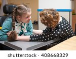 special needs carer making... | Shutterstock . vector #408668329