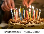 birthday cake with burning... | Shutterstock . vector #408672580
