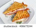 sandwich toast grilled with... | Shutterstock . vector #408675244