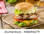 chicken burger with caramelized ... | Shutterstock . vector #408696679
