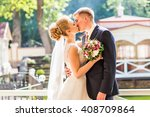 kiss the bride and groom | Shutterstock . vector #408709864