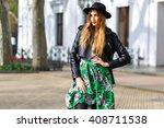 fashion street style portrait... | Shutterstock . vector #408711538