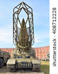 Small photo of ST.PETERSBURG, RUSSIA - 17 APRIL 2016: Launcher 2P19 with a rocket 8K14 of missile complex 9K72 Elbrus in Military Artillery Museum. NATO classification - SS-1c Scud B. Adopted in 1962.