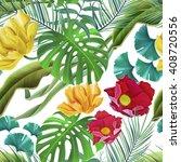 seamless tropical flower  plant ...   Shutterstock . vector #408720556