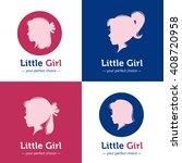 vector set of woman head logos. ... | Shutterstock .eps vector #408720958