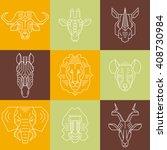 savannah animals heads line... | Shutterstock .eps vector #408730984