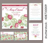 set of wedding cards with red... | Shutterstock .eps vector #408733009