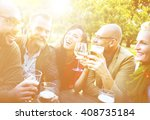 diverse people friends fun... | Shutterstock . vector #408735184