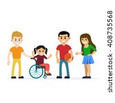 disabled young girl in... | Shutterstock .eps vector #408735568