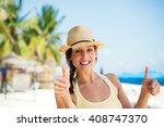 summer caribbean vacation... | Shutterstock . vector #408747370