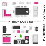 set top view for interior icon... | Shutterstock .eps vector #408751390