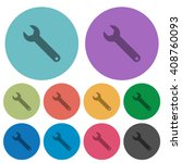 color wrench flat icon set on...