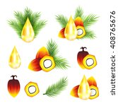 Oil Palm Fruits With Drops And...