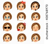 child girl emotions  face set.... | Shutterstock .eps vector #408768970