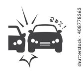 car crash black simple icon on... | Shutterstock . vector #408778363