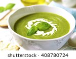 Zucchini Creamy Soup With Basi...