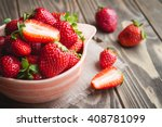 Fresh Strawberries In A Bowl O...