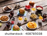 bread and crackers with burger. ... | Shutterstock . vector #408785038