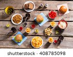 crackers with chips and burgers.... | Shutterstock . vector #408785098