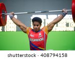 Small photo of Rio, Brazil - April 4, 2016: HERRERA Erik (ECU) in the male category during the Aquece Rio Weightlifting Test Event at the Arena Carioca 1