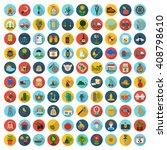 farm  gardening 100 flat icons... | Shutterstock . vector #408798610