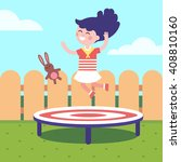girl jumping on a trampoline at ... | Shutterstock .eps vector #408810160