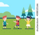 kids playing outdoor blindfold... | Shutterstock .eps vector #408810166