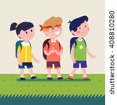 kids with backpacks going on... | Shutterstock .eps vector #408810280