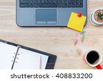 flat lay photo of office desk... | Shutterstock . vector #408833200