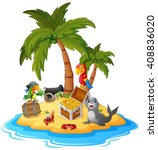 illustration of treasure island  | Shutterstock . vector #408836020