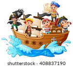 group of pirate on the ship | Shutterstock .eps vector #408837190