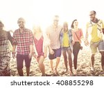 diverse beach summer friends... | Shutterstock . vector #408855298