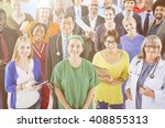 large group of diverse people... | Shutterstock . vector #408855313