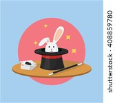 Stock vector magician tool hat and rabbit 408859780