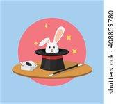 Stock vector magician tool hat and rabbit 408859780