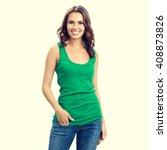 full body of happy smiling... | Shutterstock . vector #408873826
