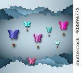 papercut design  vector paper... | Shutterstock .eps vector #408896773